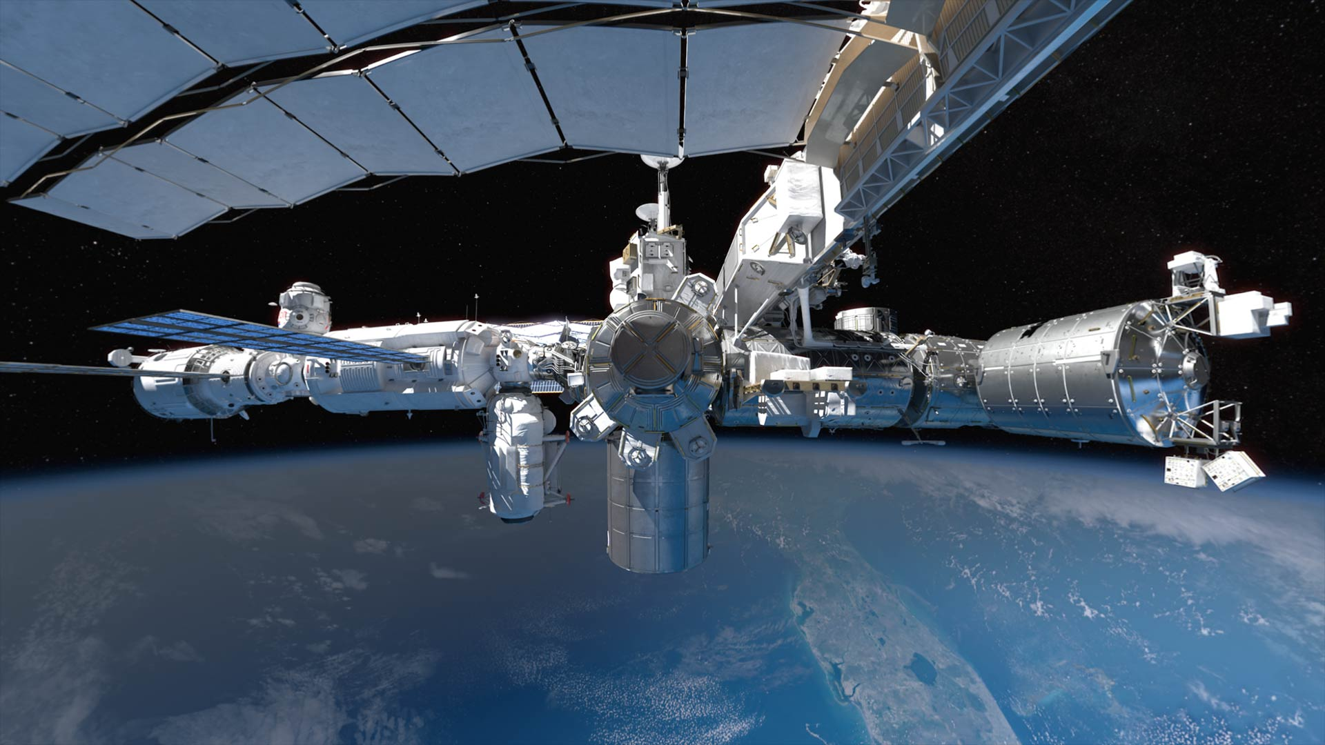 Exterior view of the International Space Station